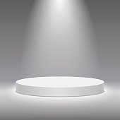 Vector white pedestal for product presentation. Round white stage podium.