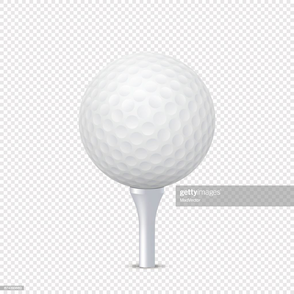 Vector white realistic golf ball template on tee - isolated. Design template in EPS10