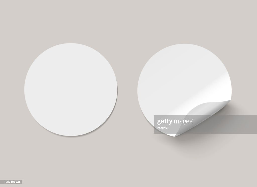 Vector white realistic round paper adhesive stickers with curved corner on transparent background.
