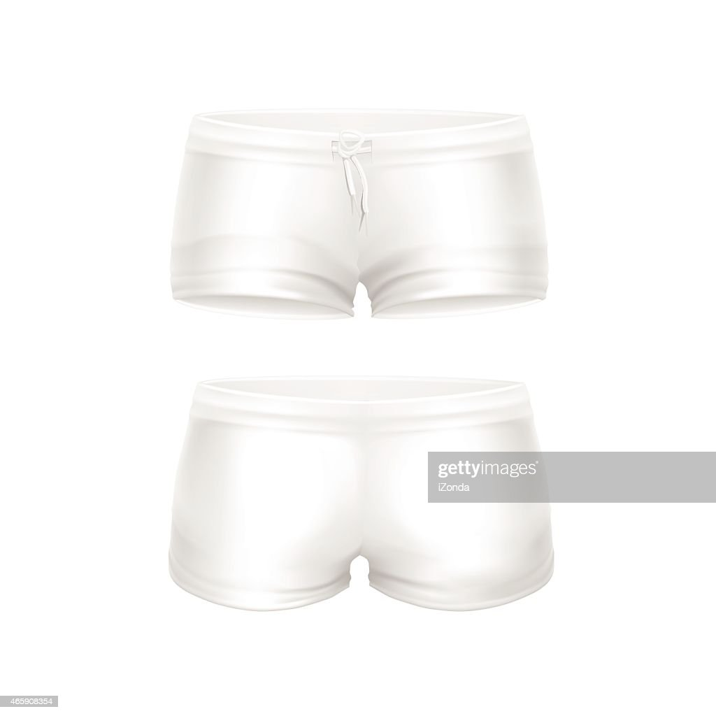 Vector White Shorts for Women Isolated on White Background