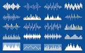 Vector white sound wave and equalizer icons