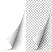 Vector white vertical paper corner rolled up