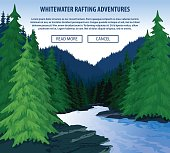 Vector whitewater rafting background theme.