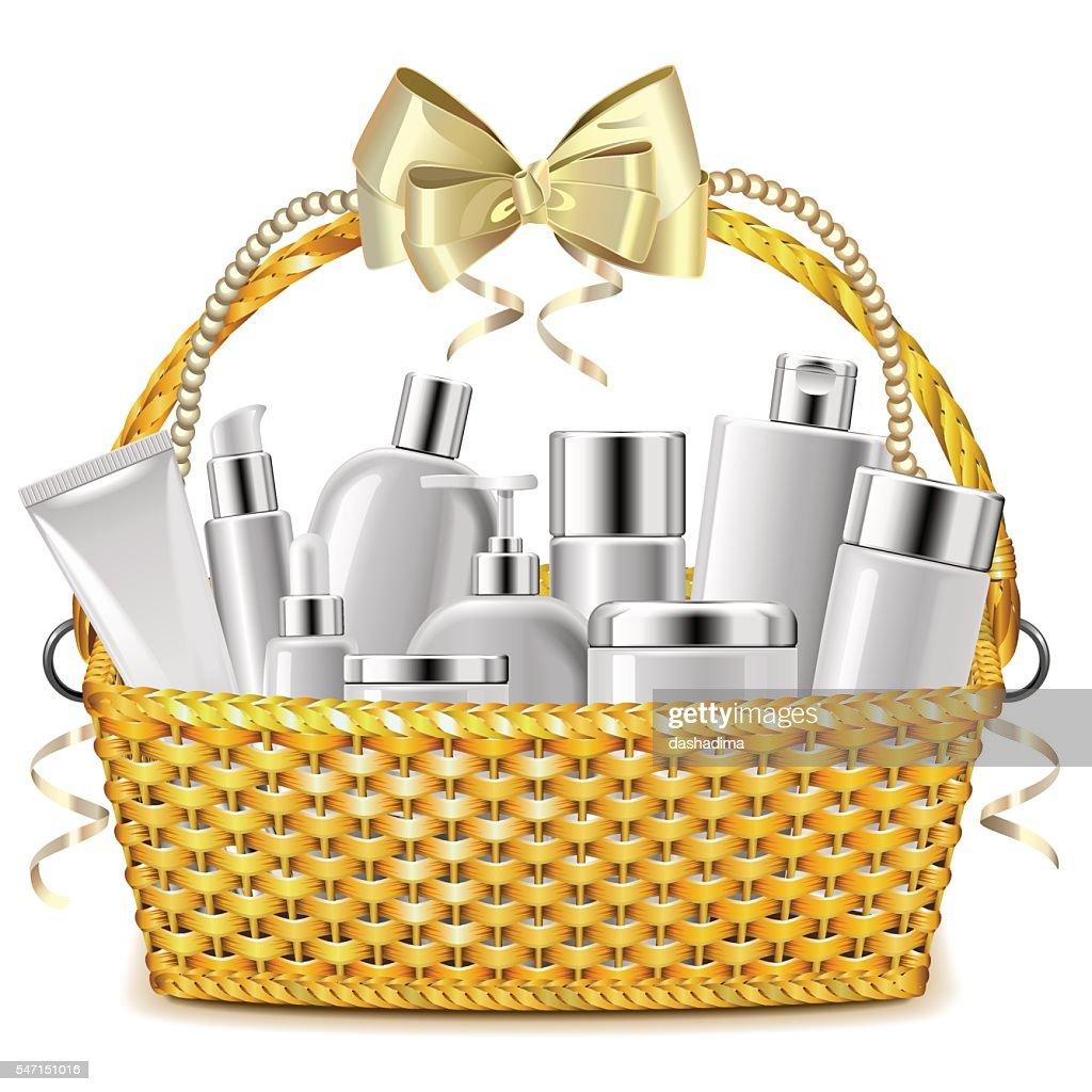 Vector Wicker Basket with Cosmetics