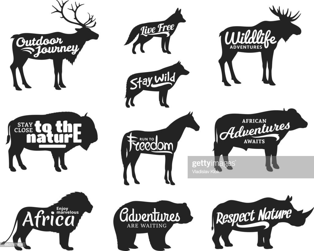 Vector wild animals silhouettes. Wild life adventures icons