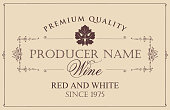 vector wine label with vine leaf