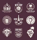 Vector wine labels, icons and design elements