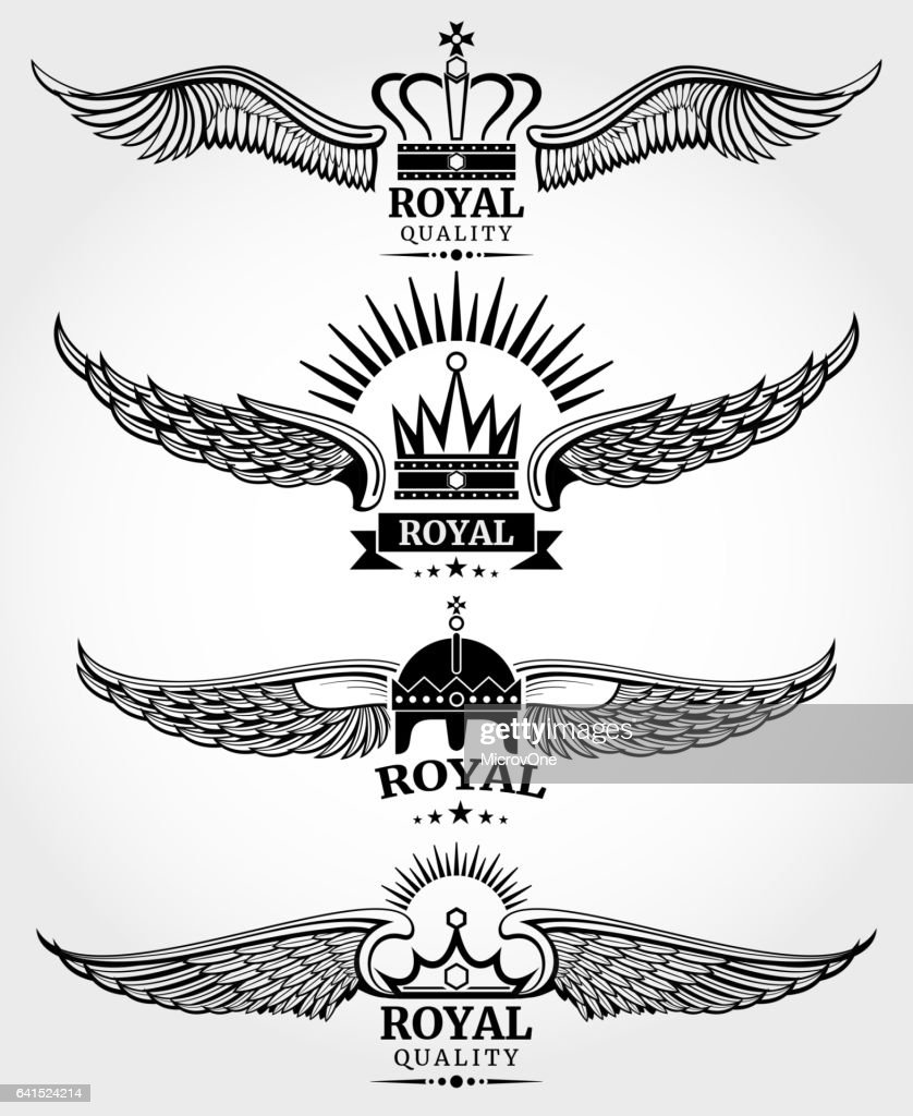 Vector winged crowns royal logo templates set in black and white
