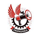 Vector winged icon composed with megaphone equipment surrounded by engineering cog wheel. Proletarian revolution abstract sign, political propaganda.