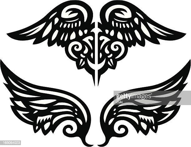 ilustraciones, imágenes clip art, dibujos animados e iconos de stock de vector alas 1 - alas de angel