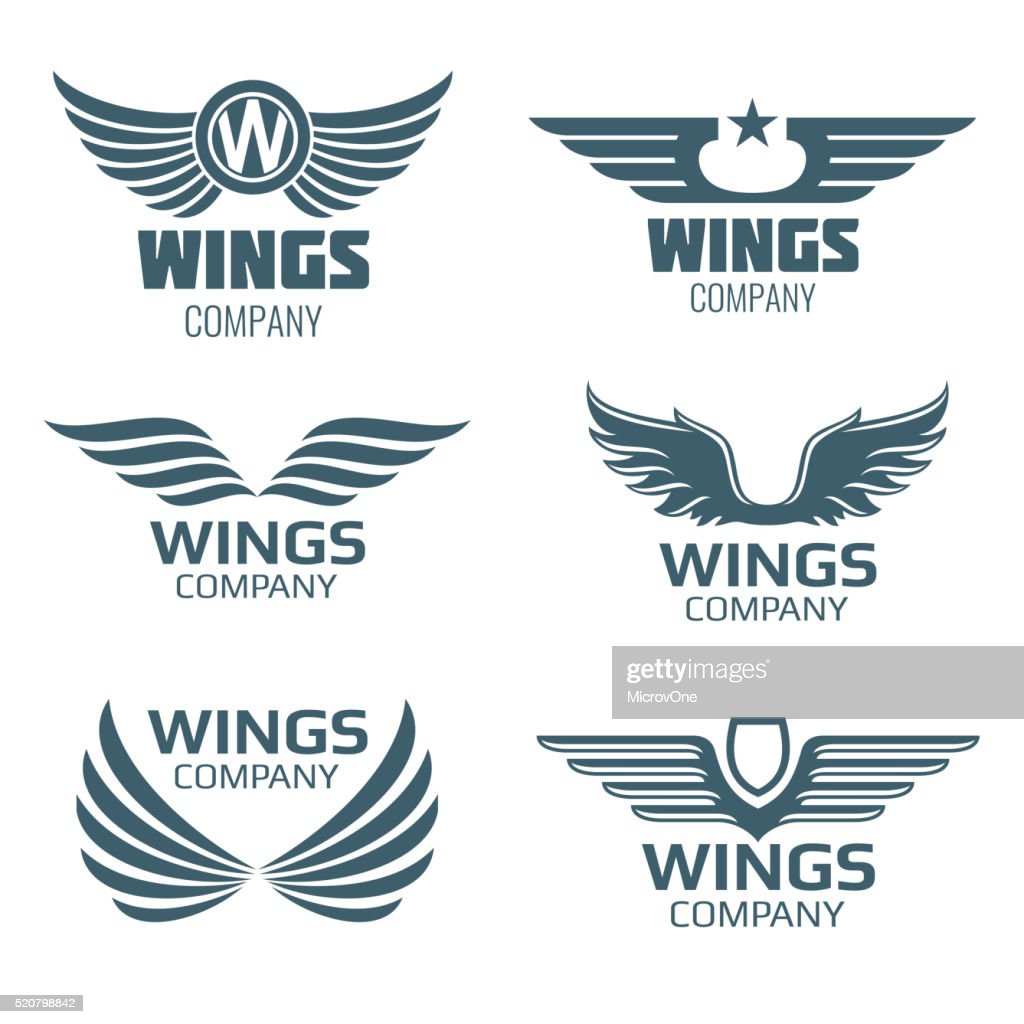 Vector wings logo set