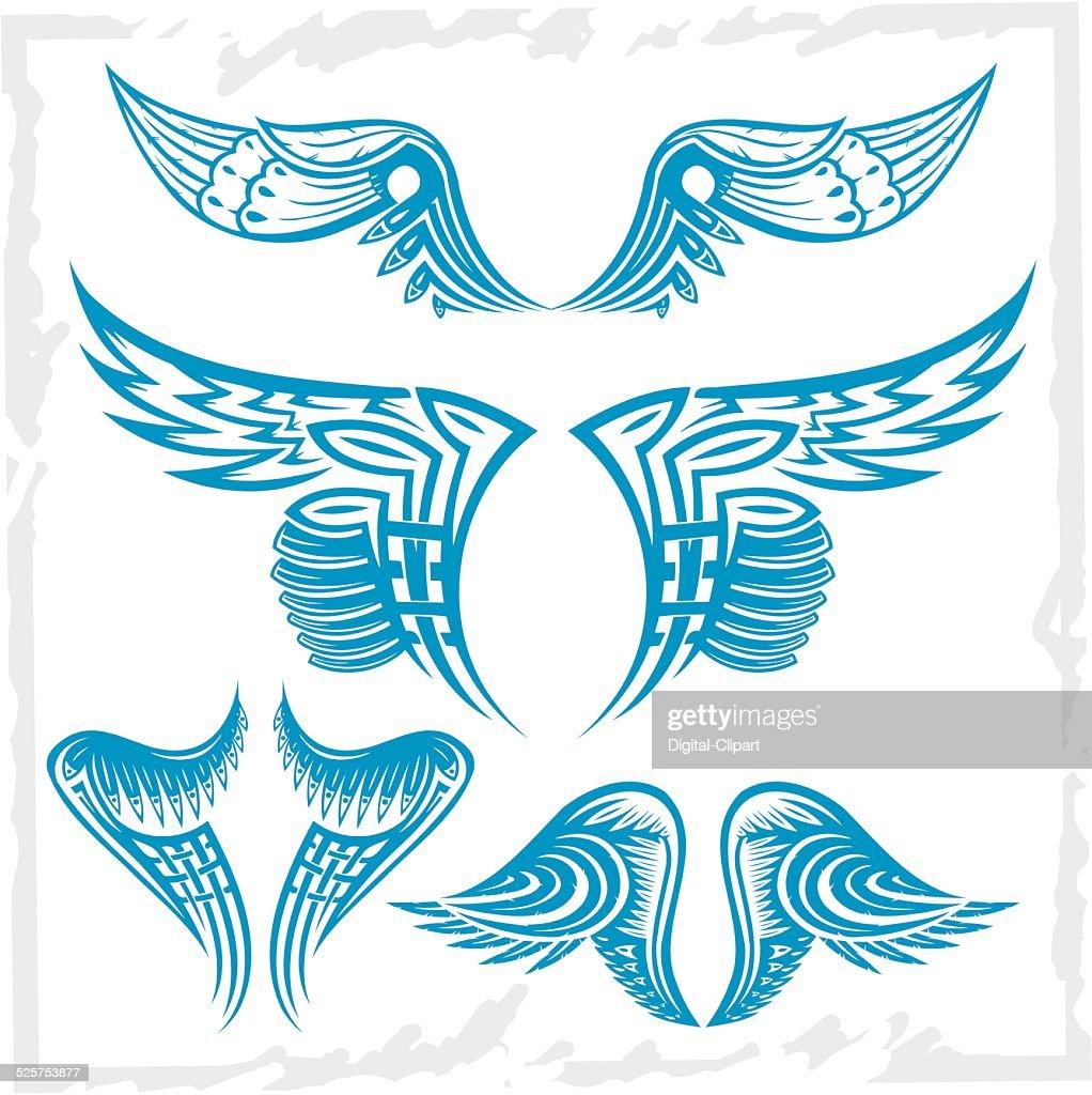 Vector Wings Set. Vinyl-ready illustration.