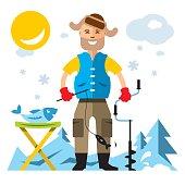 Vector Winter fishing. Flat style colorful Cartoon illustration.