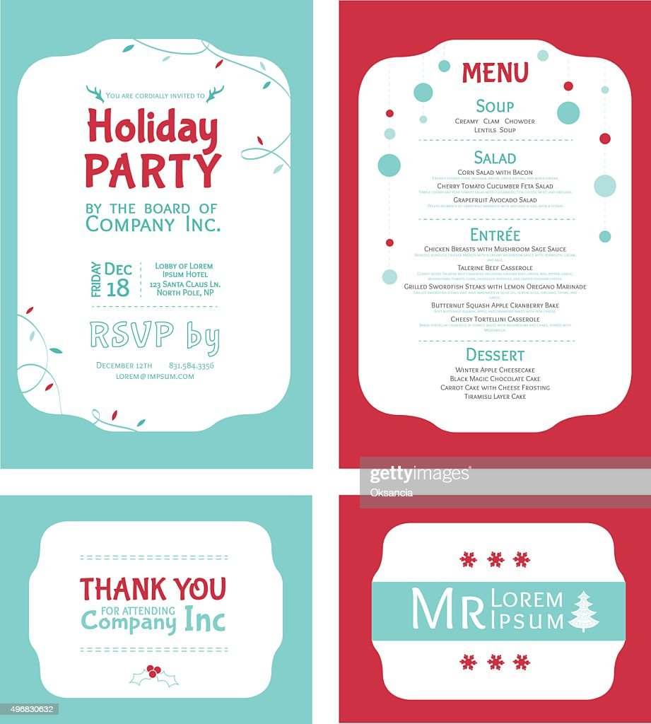 Vector Winter Holiday Party Invitation Set. Light blue. Red. Festive