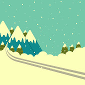 Vector winter mountains background with ski track.