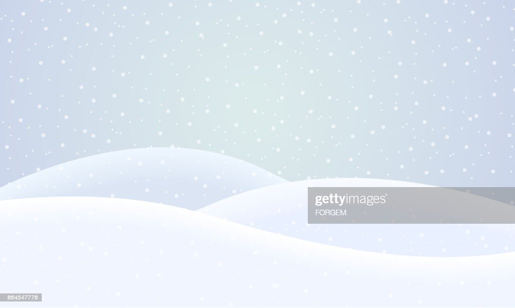 Vector winter snowy landscape with falling snow under blue sky