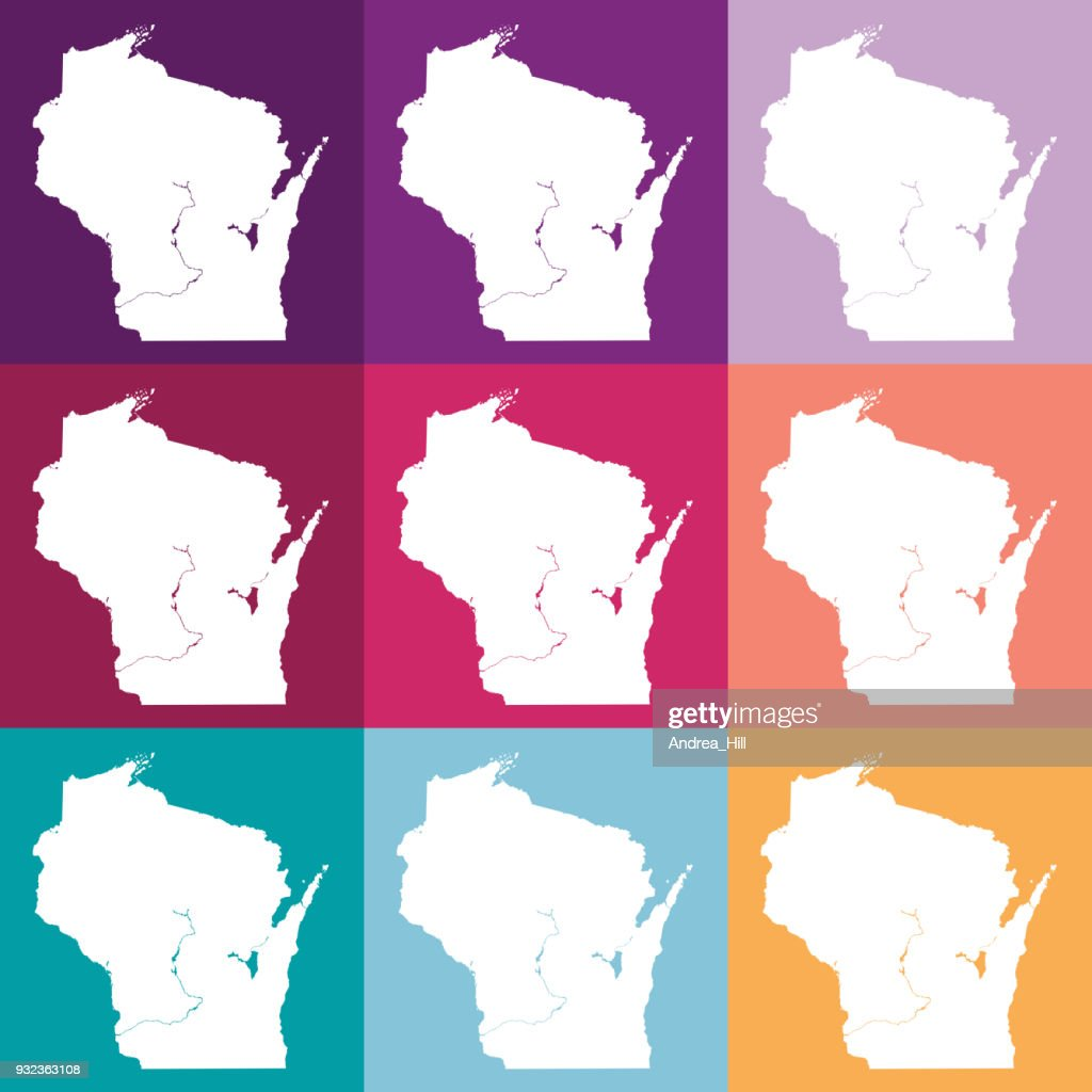 Vector Wisconsin Usa Map In Muted Colors Vector Art   Getty Images