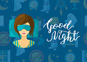 Vector with cartoon sleep elements, sleeping woman person