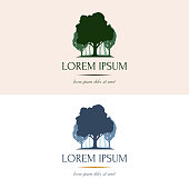 Vector with silhouette of a tree and forest. Concise and clear nature logotype, emblem for your company, business