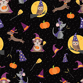 Vector Wizard Witch Friends Seamless Pattern Background