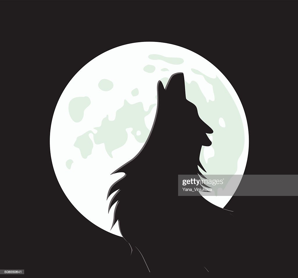 vector wolf howls at the moon