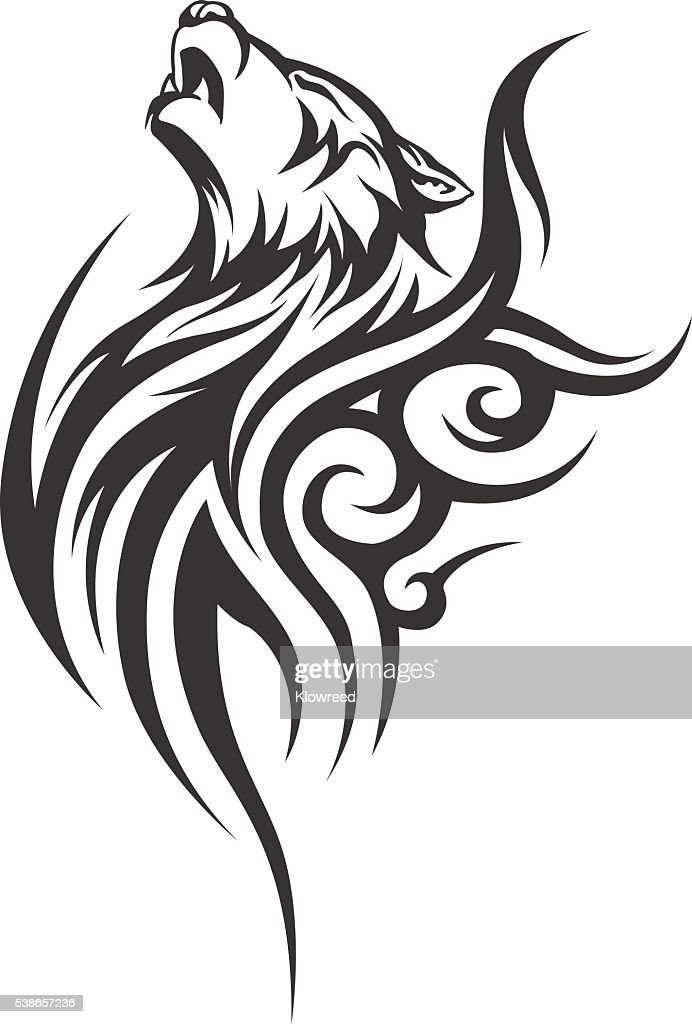 Vector wolf tattoo. Men's tattoo. Women's tattoo.