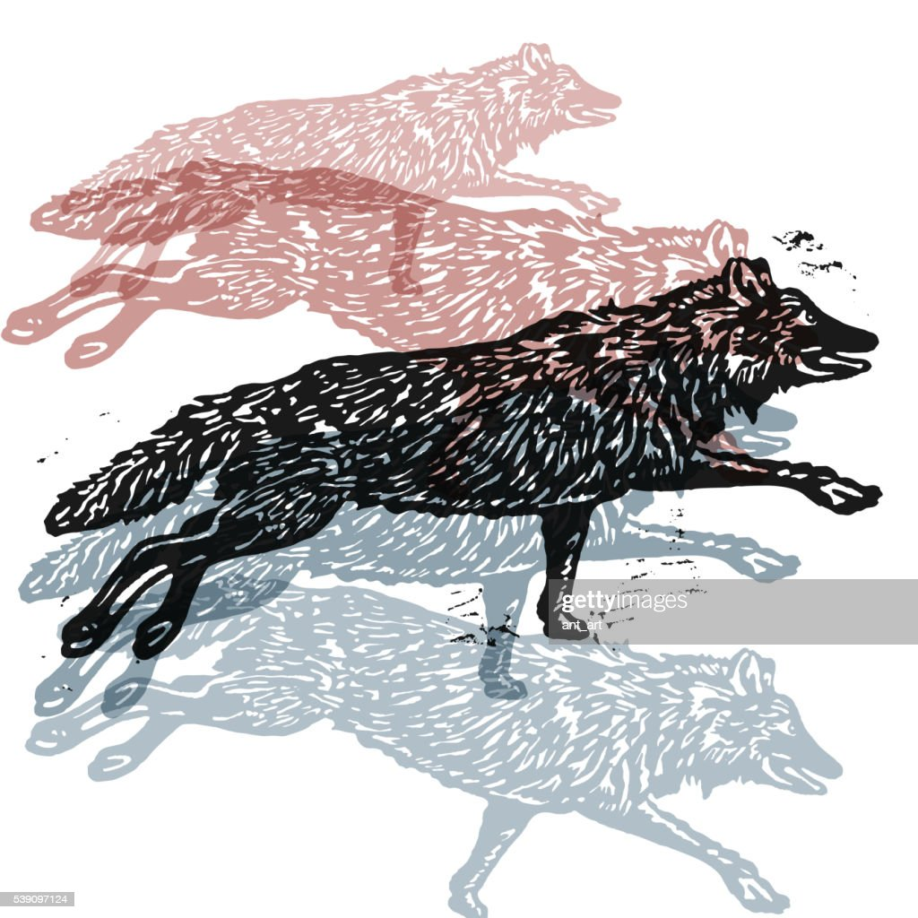 Vector wolves in abstract composition