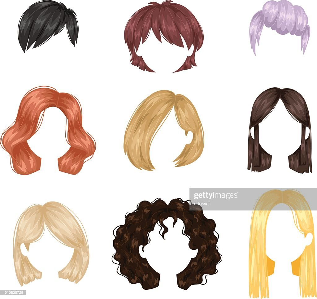 Vector woman hairstyle.