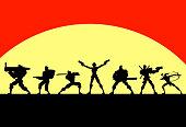 Vector Woman Led Mercenary Soldier Team Silhouette