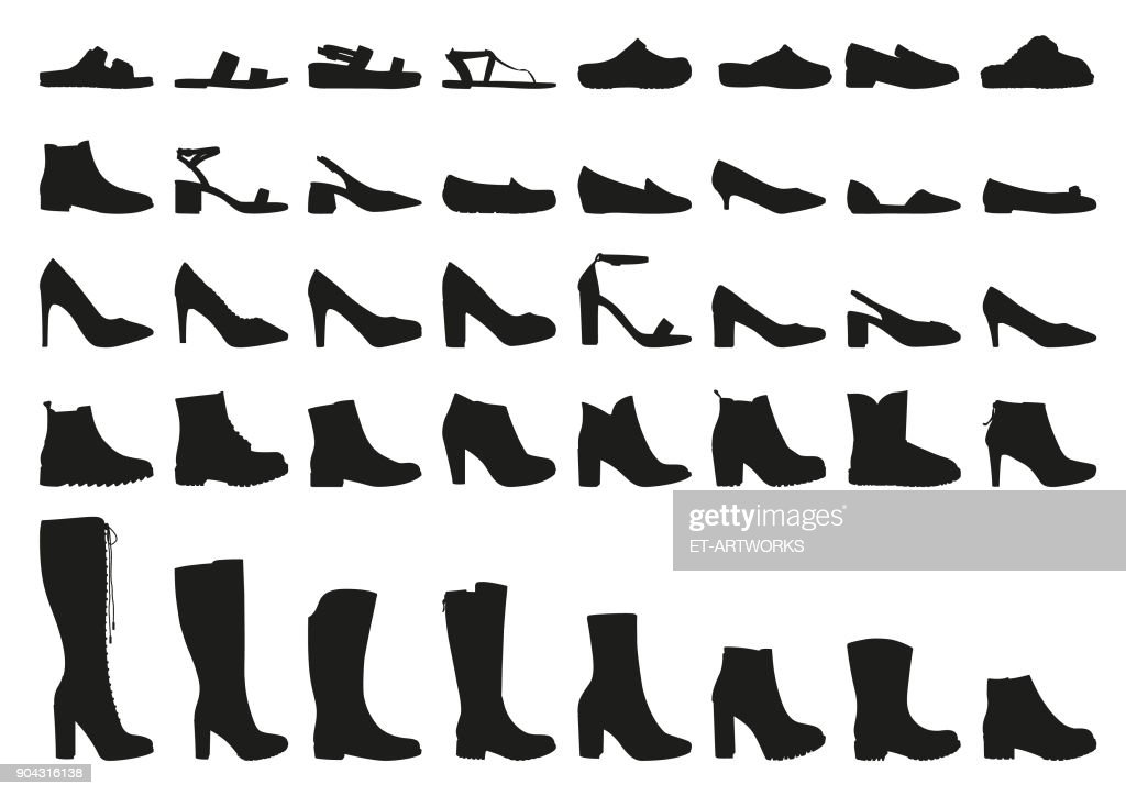 Vector woman shoes icons set : stock illustration