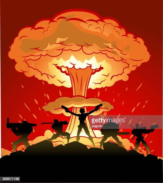 ilustrações de stock, clip art, desenhos animados e ícones de vector woman-led mercenary soldiers silhouette with nuclear explosion in the background - metralhadora