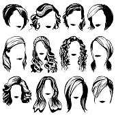 vector women fashion hairstyle high detailed silhouettes
