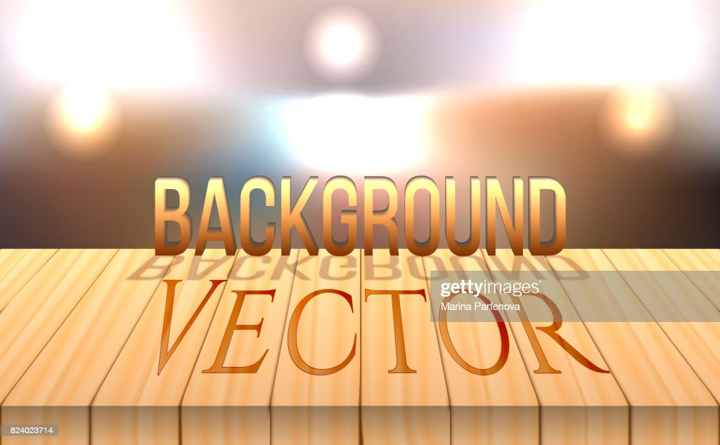 vector wood table top on bokeh abstract background