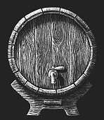 Vector wooden barrel drawn on the chalkboard