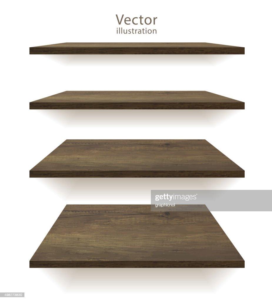 Vector wooden shelves
