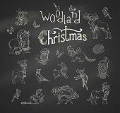 Vector woodland Christmas set.