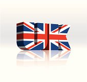 3D UK (United Kingdom) Vector Word Text Flag