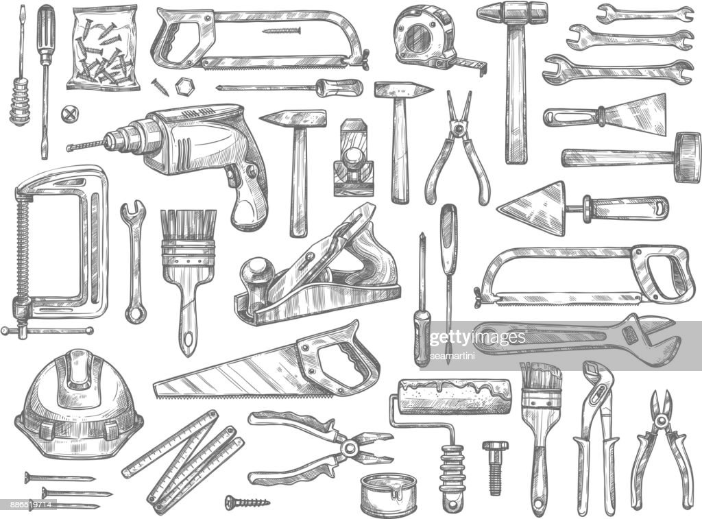 Vector work tools sketch icons for house repair