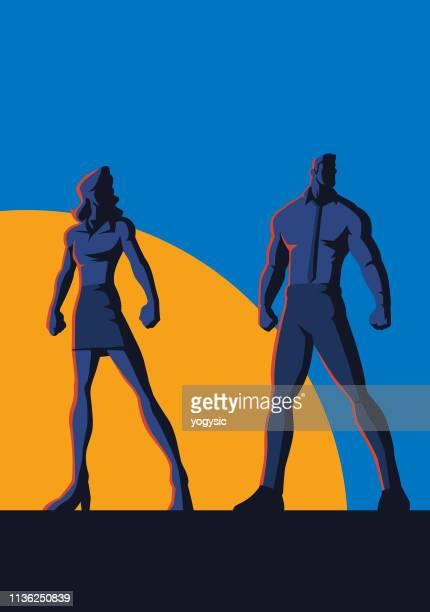 vector worker couple retro poster - heroines stock illustrations