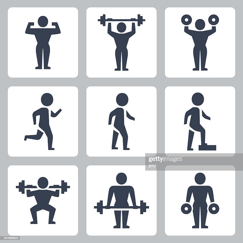 Vector workout, sport icons set