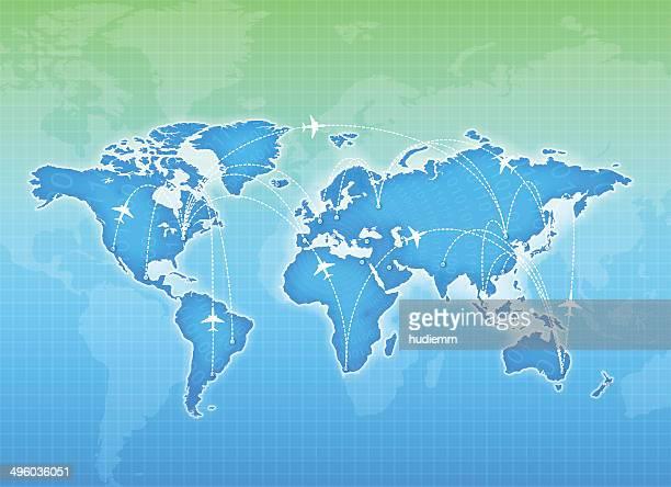 ベクトル世界地図とグローバル航空会社