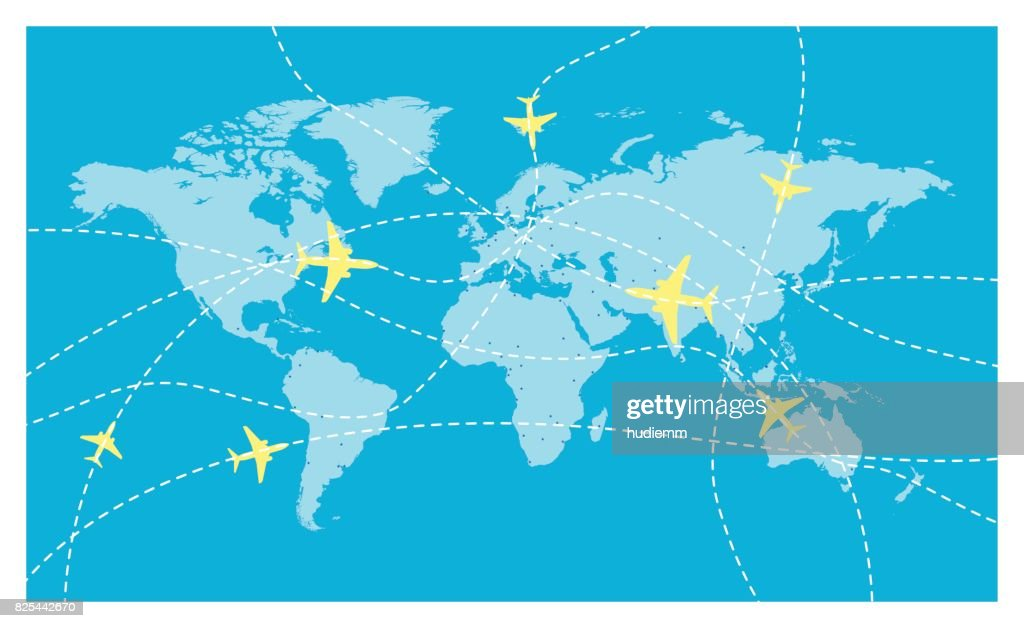 Vector world map and global airline : stock illustration