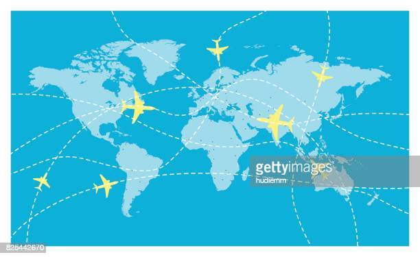vector world map and global airline - travel destinations stock illustrations