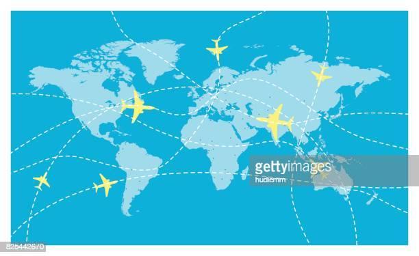 Vektor-Weltkarte und internationale Fluglinien
