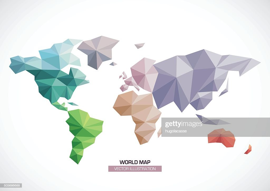 Vector world map design triangle pattern continents with different vector world map design triangle pattern continents with different colors vector art gumiabroncs Choice Image