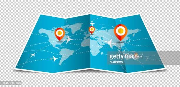 illustrations, cliparts, dessins animés et icônes de monde de vecteur carte pliée avec mondiale du transport aérien isolé sur fond blanc - destination de voyage