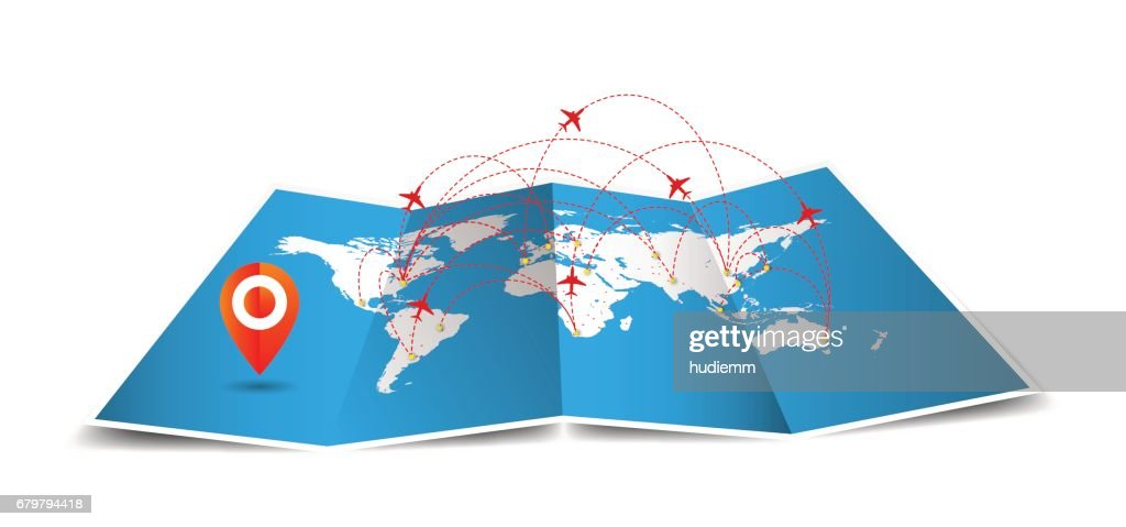 Vector world Map folded with global airline isolated on white Background : Stock Illustration