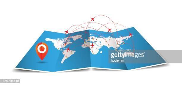 Vector Welt gefaltete Karte mit globalen Airline isoliert auf weißem Hintergrund