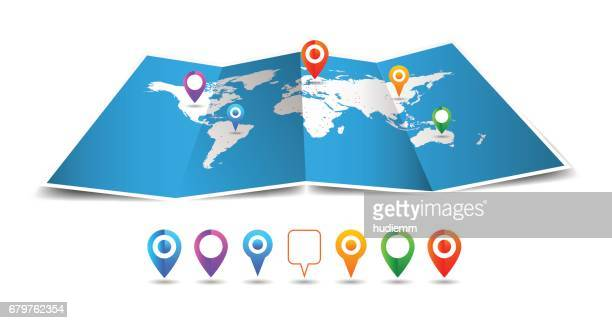 vector world map folded with pin isolated on white background - business travel stock illustrations, clip art, cartoons, & icons