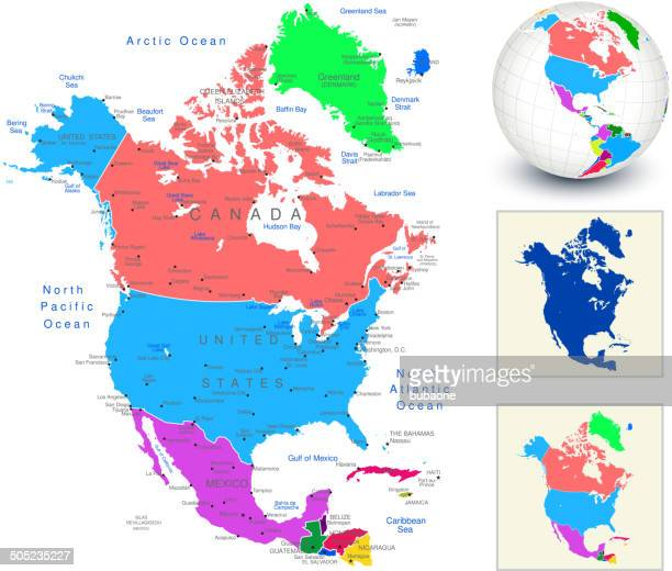 Vector World Map Geography of North America